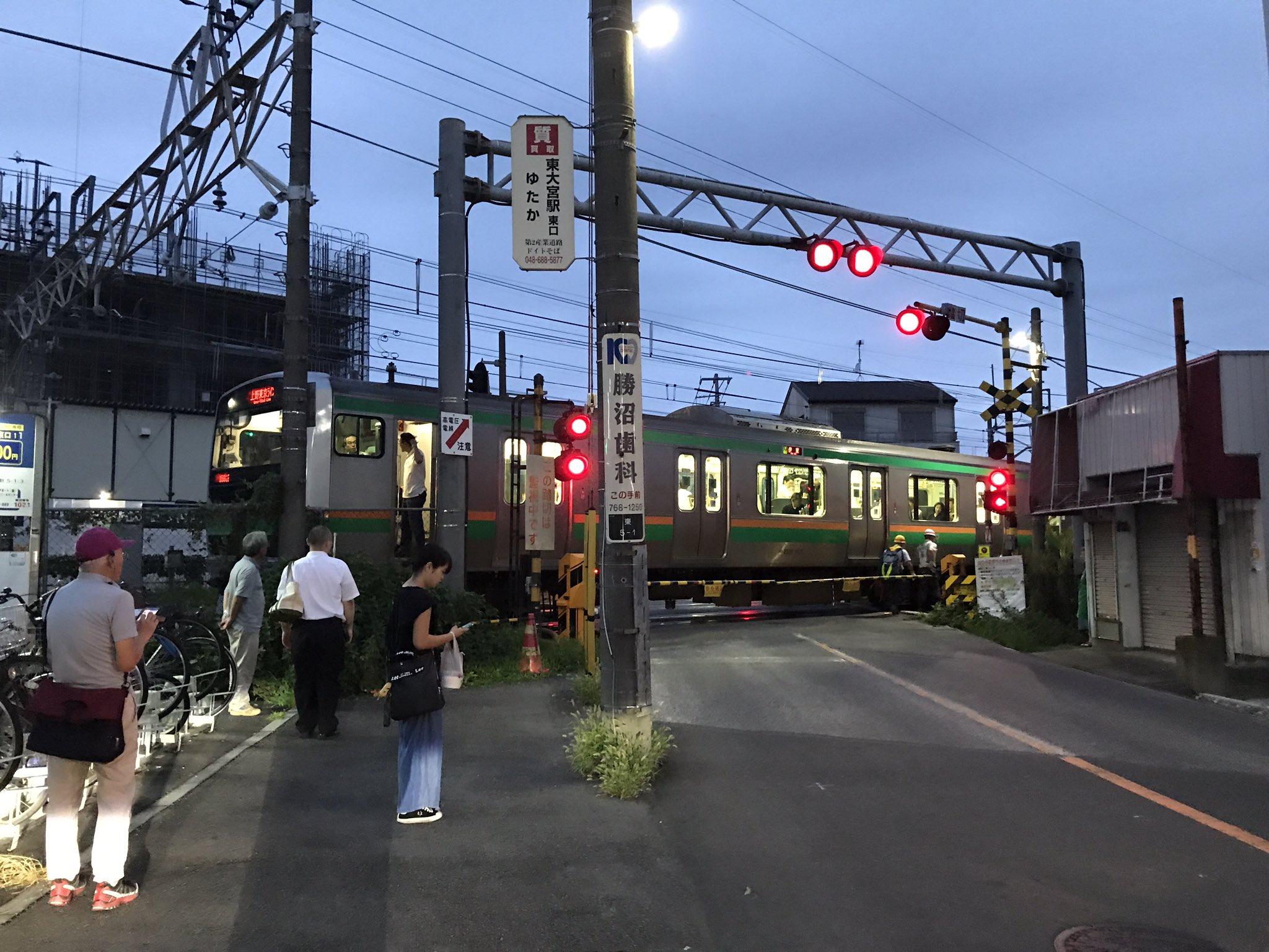 宇都宮線の蓮田駅の踏切で人身事故が起きた現場の画像