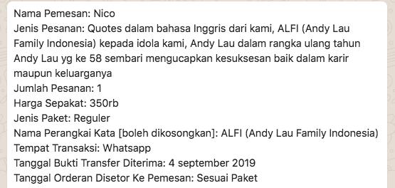 Zarry On Twitter Order Quotes Pelengkap Video Ucapan Ulang Tahun Untuk Andy Lau
