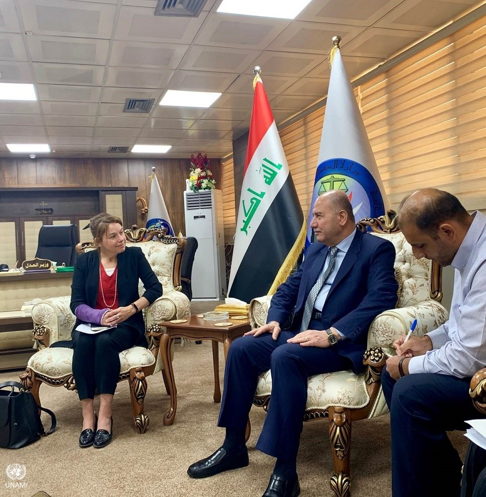 The head of the UNAMI Human Rights Office and Representative of the United Nations Office of the High Commissioner for Human Rights (OHCHR) in #Iraq, Ms. Danielle Bell, met today in #Baghdad with His Excellency Farouq Amin al-Shwani, Minister of Justice. EDnlCdKWwAcDSp9
