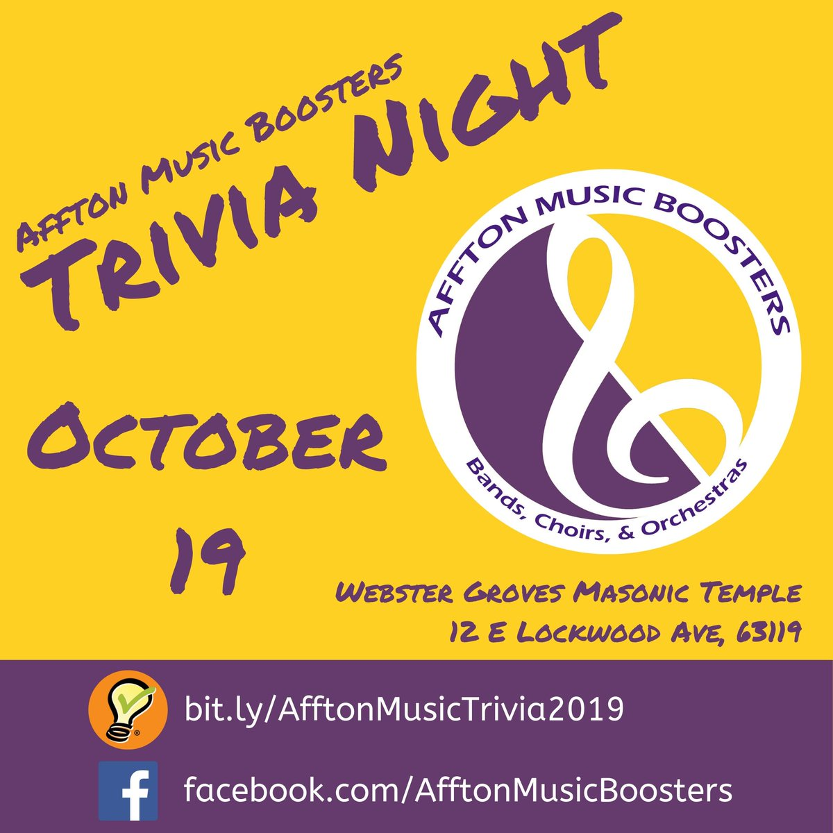 Mark your calendars for Affton Music Boosters Trivia Night on Saturday, October 19!
