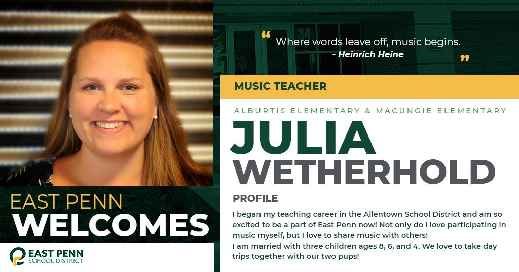 Welcome new @epsdalburtis & @epsdmacungie teacher, Julia Wetherhold. We are #EastPennPROUD to have you!