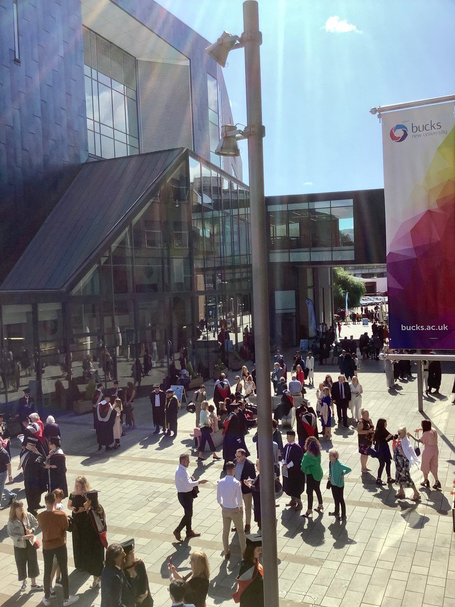 #day3 of #BucksGrad19 what a brilliant buzz out in the sun-trap outside the #gatewaybuilding ⁦@BucksNewUni⁩ the air is filled with cheers and laughter and the excitement of the #graduates is electric. #goyou #succeed #hardworkpaysoff