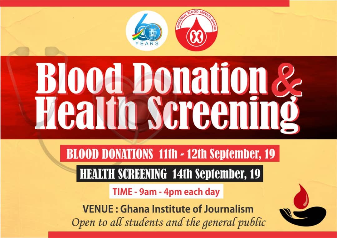 The Ghana Institute of Journalism announces to the student body, cherished stakeholders and the general public that it is organizing a 2-day Blood Donation. Find the details below  #LetsSaveASoul #DonateToSave #ServiceToCountry #PromotingExcellence  #InspiringOurFuture<br>http://pic.twitter.com/fNwq7MVhSd