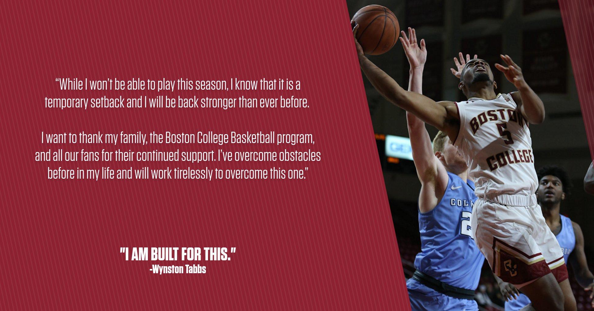 Boston College Eagles NCAA Basketball: NEWS: Sophomore guard Wynston Tabbs to miss the 2019-20 season.  STORY: https://t.co/3I...
