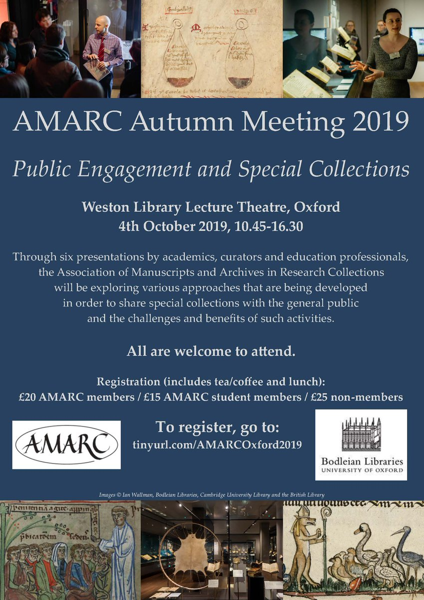 Come to the @AMARC Autumn mtg in Oxford on 4 Oct 2019 to hear about Public Engagement & Special Collections @AinonenT @DanielWakelin1 @Stewart_Brookes @RalucaRadulesc1 and more! @https://amarcsite.wordpress.com/meetings/forthcoming-meetings/