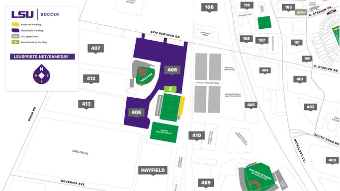 SOC: Fan Reminders for Todays 12:00 p.m. @LSUSoccer Match Against @SunDevilSoccer: Free Public Parking: Lot 406 Stadium Policies: LSUsports.net/gameday Bag Policy: LSUsports.net/geauxclear Entrances Open: 11:00 a.m. Need Assistance: Call Guest Services 225-578-4085