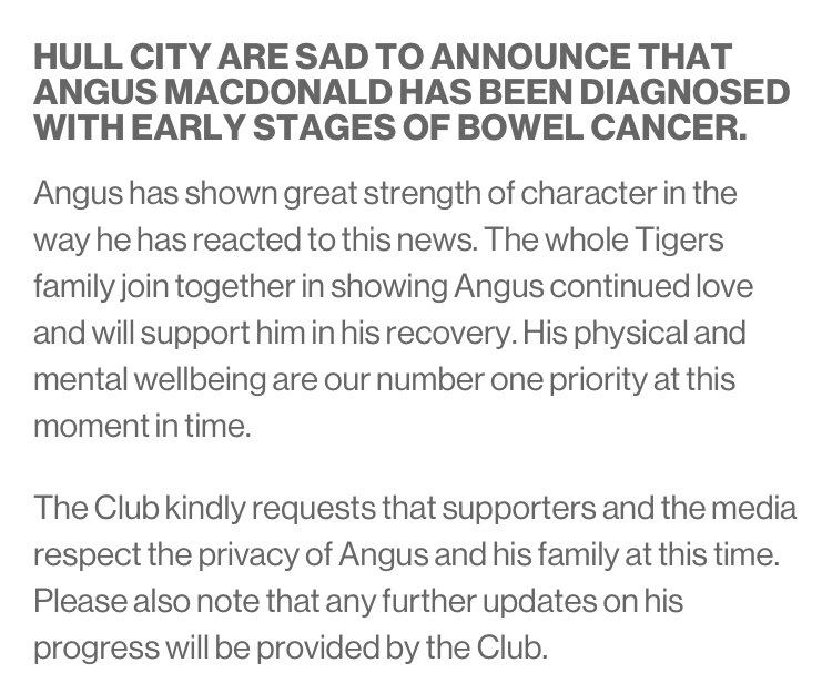 Hull City defender Angus MacDonald diagnosed with bowel cancer