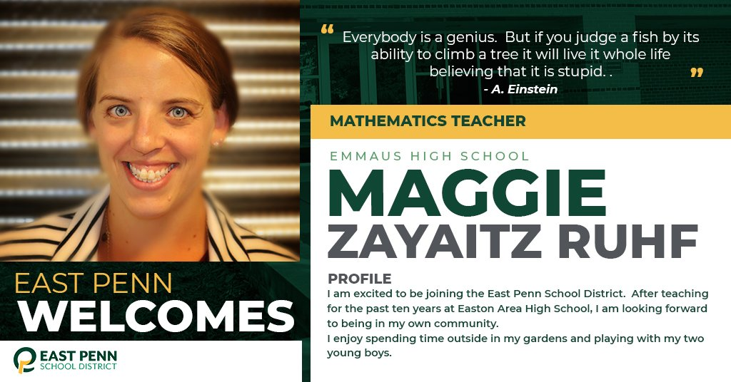 Welcome new @EHS_Hornets teacher, Maggie Zayaitz Ruhf. We are #EastPennPROUD to have you!