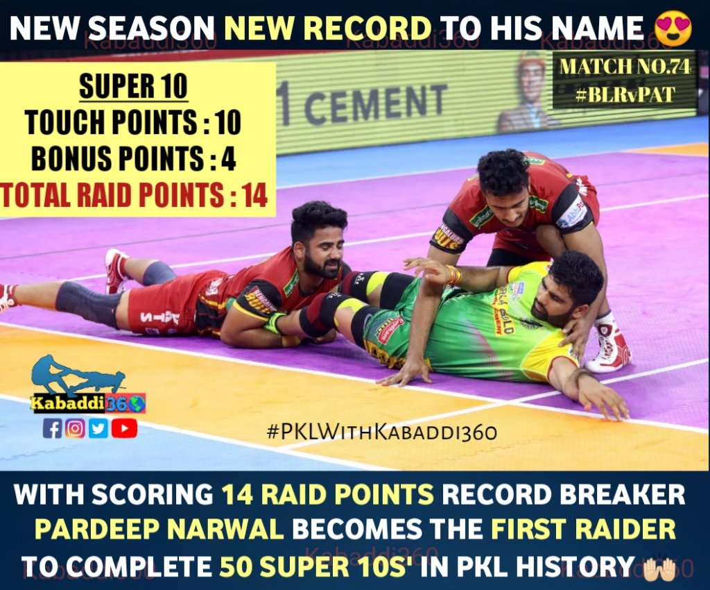 Still @PatnaPirates did not overcome the challenge of @BengaluruBulls as they faced another loss.  #PardeepNarwal  #Super10  #recordbreakers #vivoprokabaddi  #IsseTouchKuchNahi  #PKLwithKabaddi360