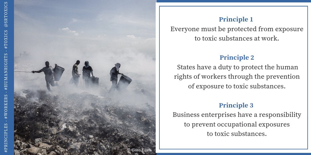 Human rights of workers depend on the prevention of exposure to hazardous substances.  7 of the principles are on duties of States & responsibilities of businesses to prevent exposure.  #workers #humanrights #toxics #HRC42 #Geneva  photo: @gcwingman @GettyReportage (thread 1/4) https://t.co/KgHMBz8JXj