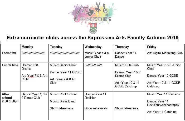 New year, new club timetable. Excited for all the events and projects we have planned this year 😊 #wearebedfordarts