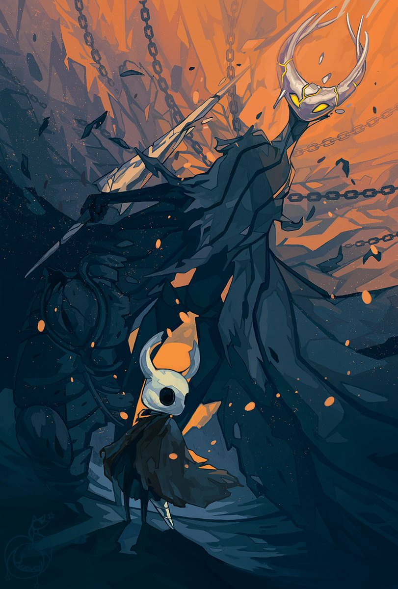 And another one! This was my contribution to @SoulZine featuring the little knight and the Hollow Knight which was one of my favourite encounter in the game.  Such a good story and aesthetic was a honor to be part of the zine! #HollowKnight #hollow_knight