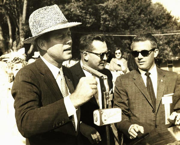 JFK wearing rice hat while campaigning at International Rice Festival, 60 years ago this fall, Crowley, La.:  #Guidry