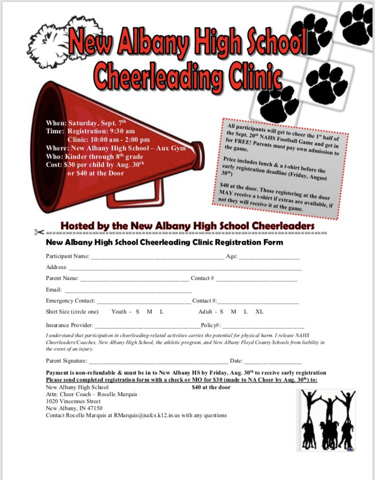 It's not too late to register for our Fall Cheer Clinic this Sat, Sept 7! Open to kinder through 8th grade! $40 at the door - includes a clinic shirt, lunch, and getting to cheer on the sidelines with ur NA Cheerleaders at the Fball Game on Fri, Sept 20th!