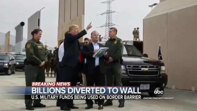 BILLIONS DIVERTED TO WALL: Lawmakers are looking closely at the Pentagon's plan to shift billions from military projects to build parts of the southern border wall that President Trump initially promised Mexico would pay for. @marykbruce reports. https://abcn.ws/2zQqPPt