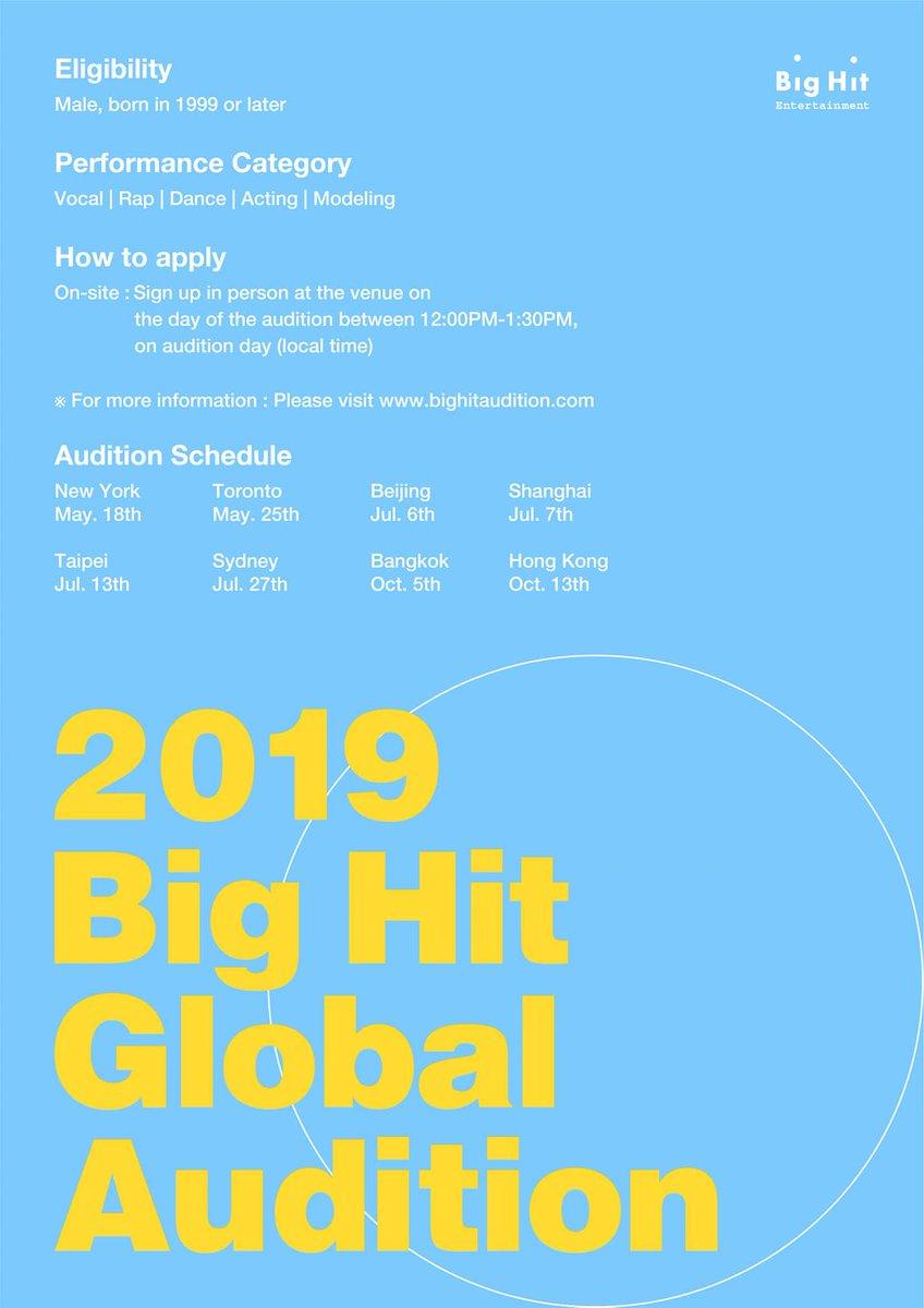 [ 2019 Big Hit Global Audition – Bangkok] ∙ Date : October 5, 2019 ∙ Venue : 19/14-15 Soi Soonvijai, Rama 9 Rd. Bangkapi, Huay Kwang, Bangkok 10310 Thailand (D DANCE Thailand) ※ For more information, please visit the Big Hit Audition website. bighitaudition.com