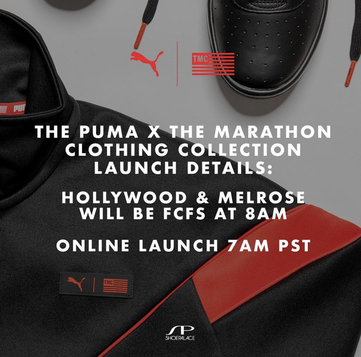 LAUNCH DETAILS: MELROSE & HOLLYWOOD LOCATION ARE FCFS 8AM PST  ONLINE AT  http:// SHOEPALACE.COM      LAUNCH IS AT 7AM PST  #pumaxtmc <br>http://pic.twitter.com/vpzhom4u51
