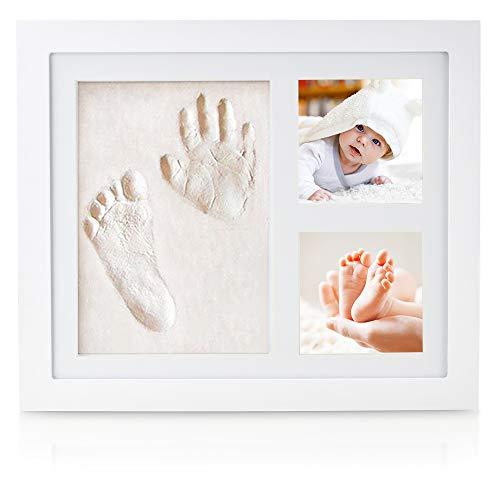 weiß Babybilderrahmen mit Gipsabdruck Handabdruck Baby Fußabdruck mit Rahmen