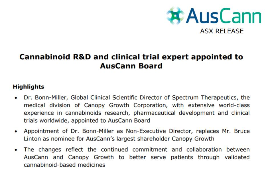 We are delighted by the appointment of cannabinoid R&D and clinical trial expert, Dr. Marcel Bonn-Miller, to the AusCann Board as Non-Executive Director https://t.co/P6EIXAWlhC