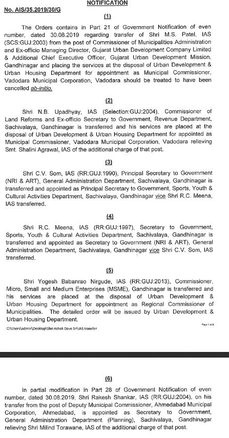 Gujarat govt. announces transfers of IAS officers: VMC gets new Commissioner