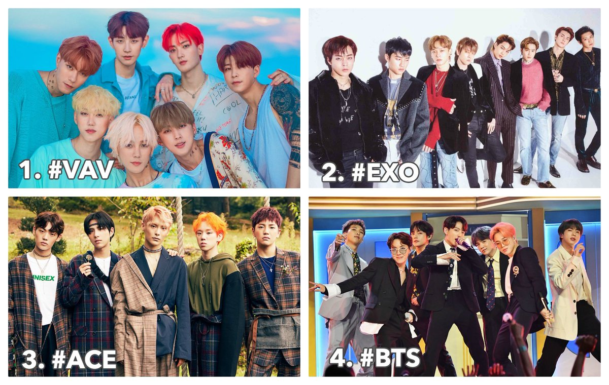 """KVille Entertainment در توییتر """"'MOST HANDSOME K-POP BOY GROUPS' Poll! The  current leaders are: 1. #VAV! 2. #EXO! 3. #ACE! 4. #BTS The rest of the Top  10 are: #ATEEZ, #INFINITE, #GOT7, #"""