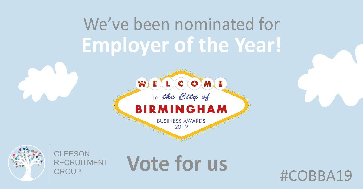 One week left to vote! We are honoured to have been nominated for Downtown in Business Birmingham's 'Employer of the Year' Award, please vote for us using this link:  https://www. surveymonkey.com/r/SB5VTGW      #COBBA19 #employeroftheyear #workwithglee #awards<br>http://pic.twitter.com/fcFTPsBQJp