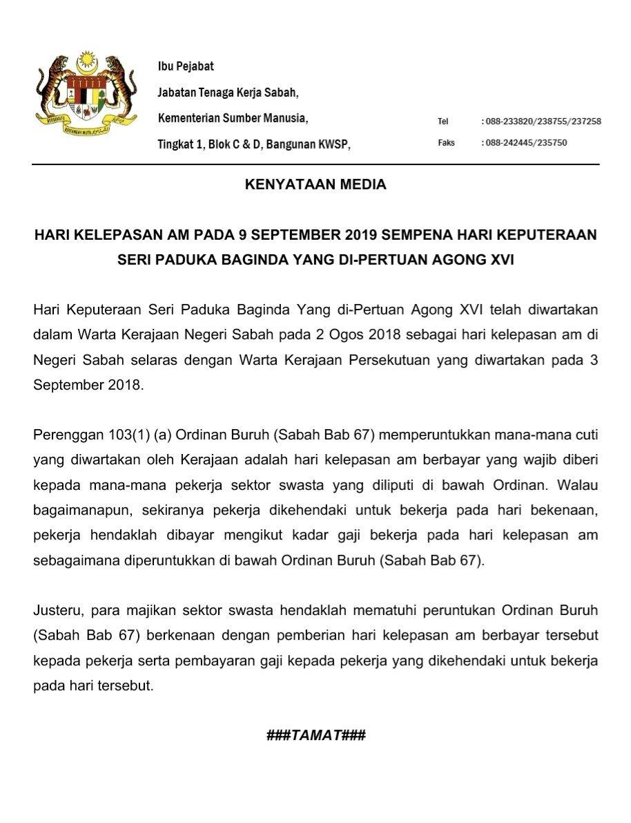 Jabatan Tenaga Kerja Sabah Jtk Sabah On Twitter Jtk Sabah Di Akhbar Hari Ini Utusan Borneo Mukasurat 1 Dan Kenyataan Media Berkenaan Hari Kelepasan Am Pada 9 September 2019 Sempena Hari Keputeraan