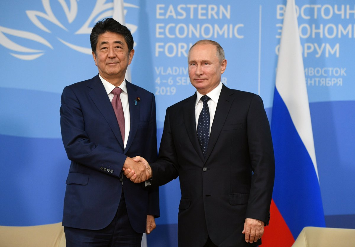 Vladimir Putin had a meeting with Prime Minister of Japan Shinzo Abe at #EEF2019 bit.ly/2lT9zp0