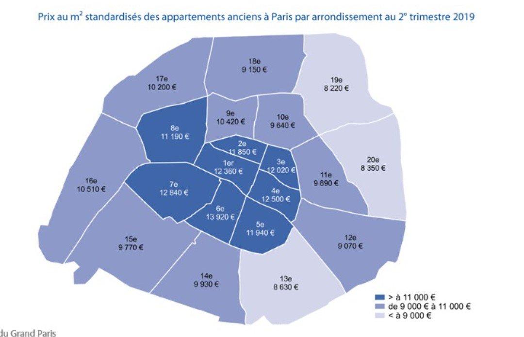 La Carte Des Prix De Limmobilier à Paris Par M2 Et Par