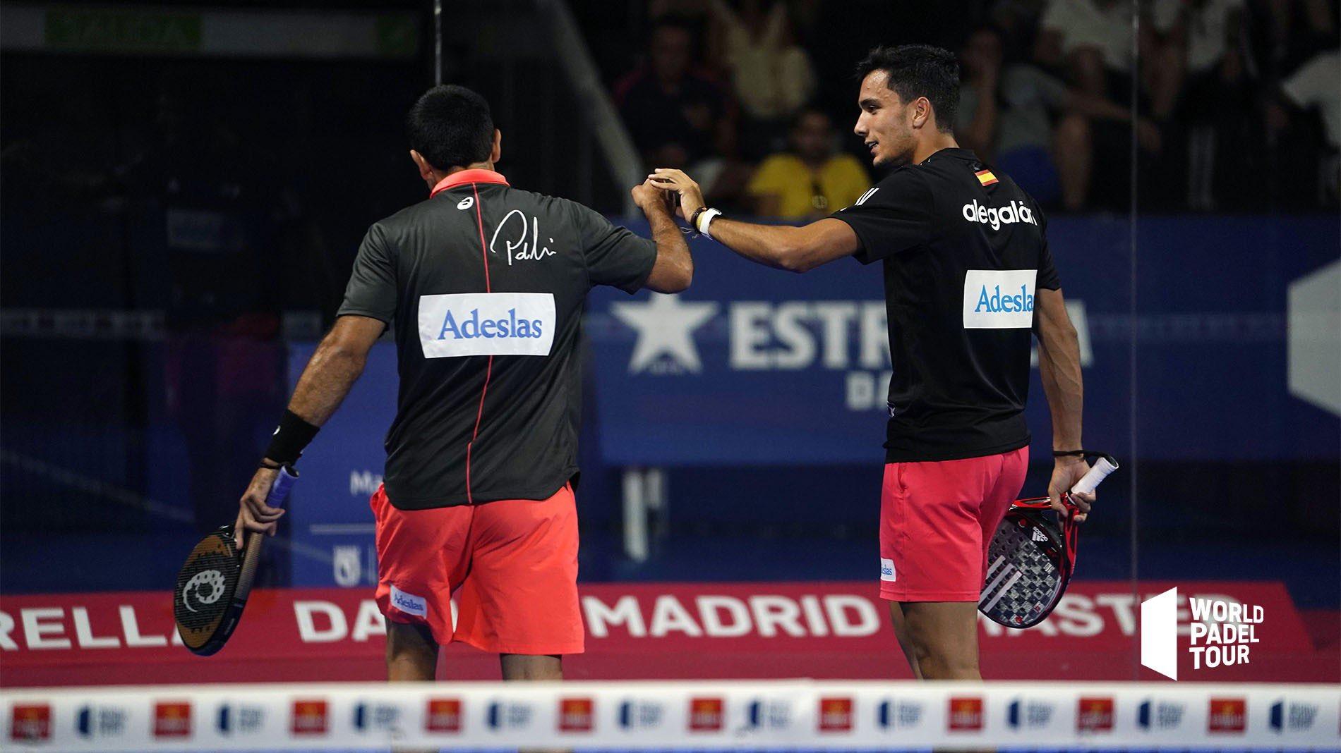 Ale Galán y Pablo Lima celebrando un punto en los octavos del Madrid Master