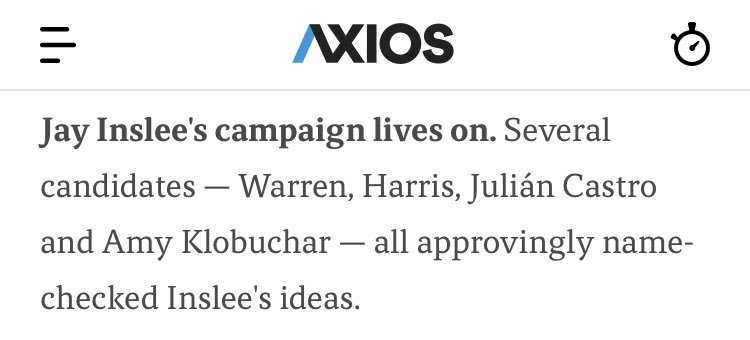 """Takeaway from @axios: """"Jay Inslee's campaign lives on"""" axios.com/cnn-climate-to…"""
