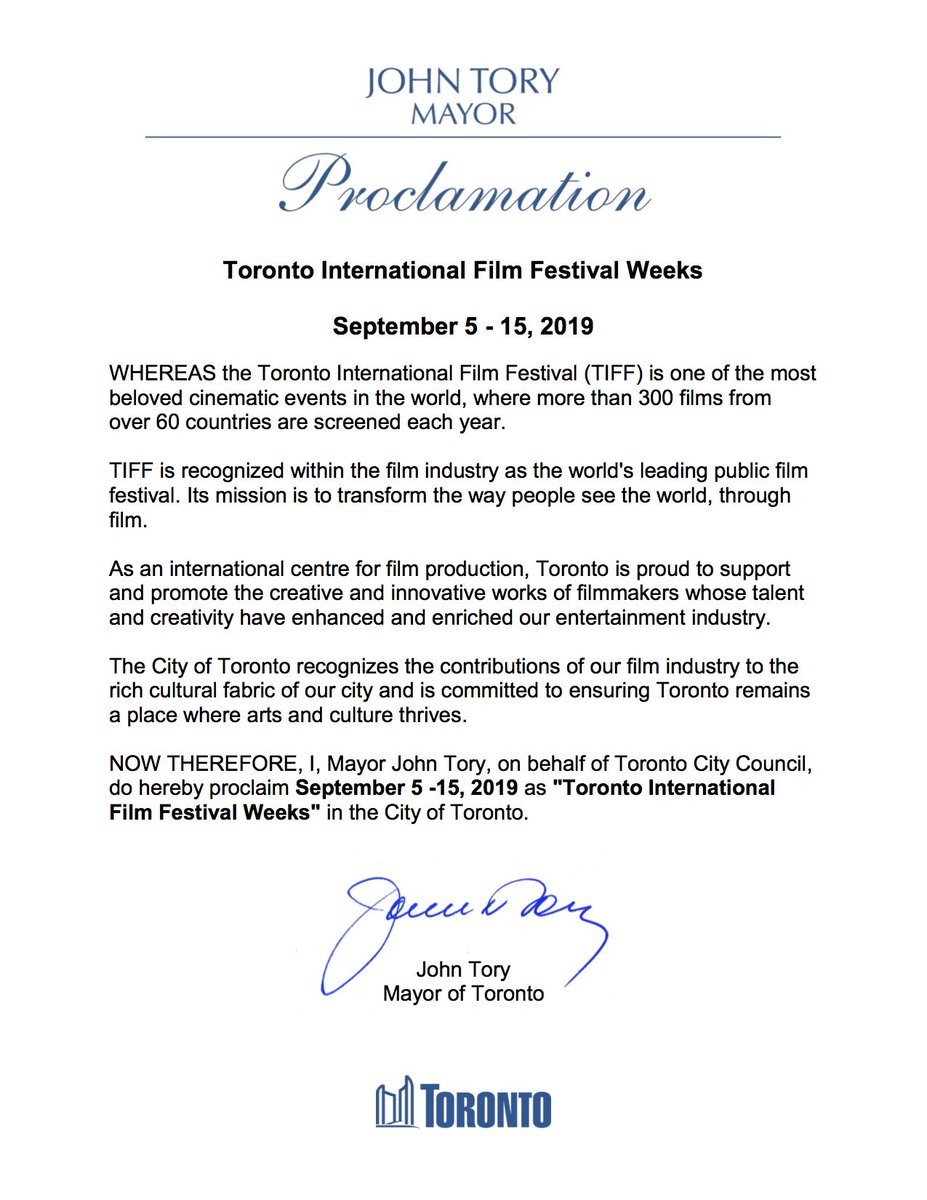 Over the next ten days Toronto will be home to more than 300 films from over 60 countries as part of #TIFF19. Encouraging residents to get out to enjoy the world's leading public film festival. Proud to proclaim September 5 – 15 as #TIFF Weeks in the @cityoftoronto.