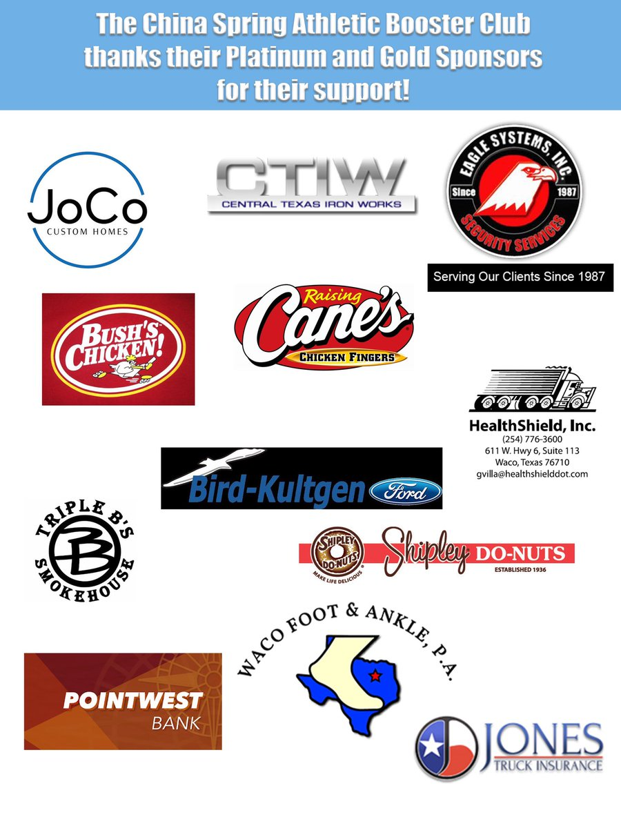 We're so thankful for our booster club sponsors!!