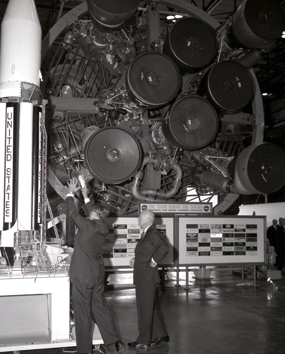 President Eisenhower gets a private look at a Saturn rocket model from Wernher von Braun at George C. Marshall Space Flight Center, this week 1960:         #NASA