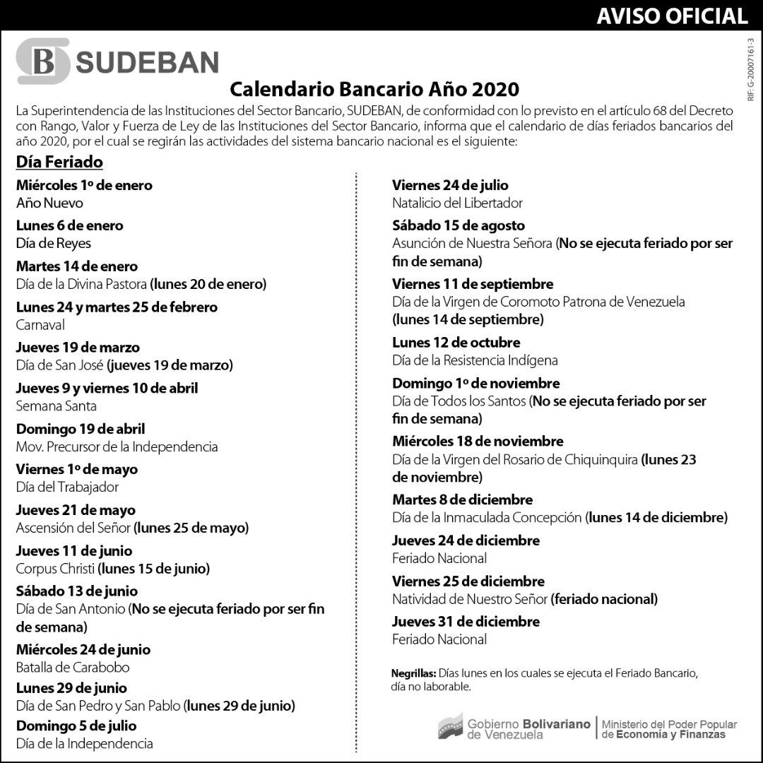 Calendario 2020 Portugues Com Feriados.Sudebaninforma On Twitter Deinteres Sudeban Pone A La