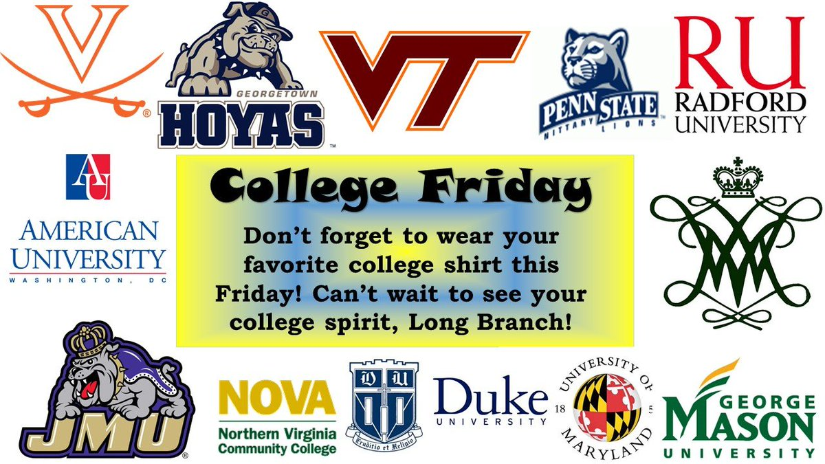 Tomorrow is COLLEGE FRIDAY! Staff and students are invited to wear college gear or colors to represent their favorite school. College Friday is every 1st Friday (unless there is a conflict) here at <a target='_blank' href='http://twitter.com/longbranch_es'>@longbranch_es</a>! Hope to see your college spirit!🦁💙💛 <a target='_blank' href='http://search.twitter.com/search?q=reachhigher'><a target='_blank' href='https://twitter.com/hashtag/reachhigher?src=hash'>#reachhigher</a></a> <a target='_blank' href='https://t.co/eJlmr0oD5n'>https://t.co/eJlmr0oD5n</a>