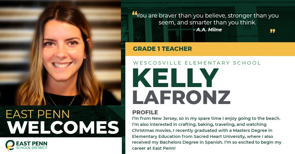 Welcome new @EPSDWescosville teacher, Kelly LaFronz. We are #EastPennPROUD to have you!