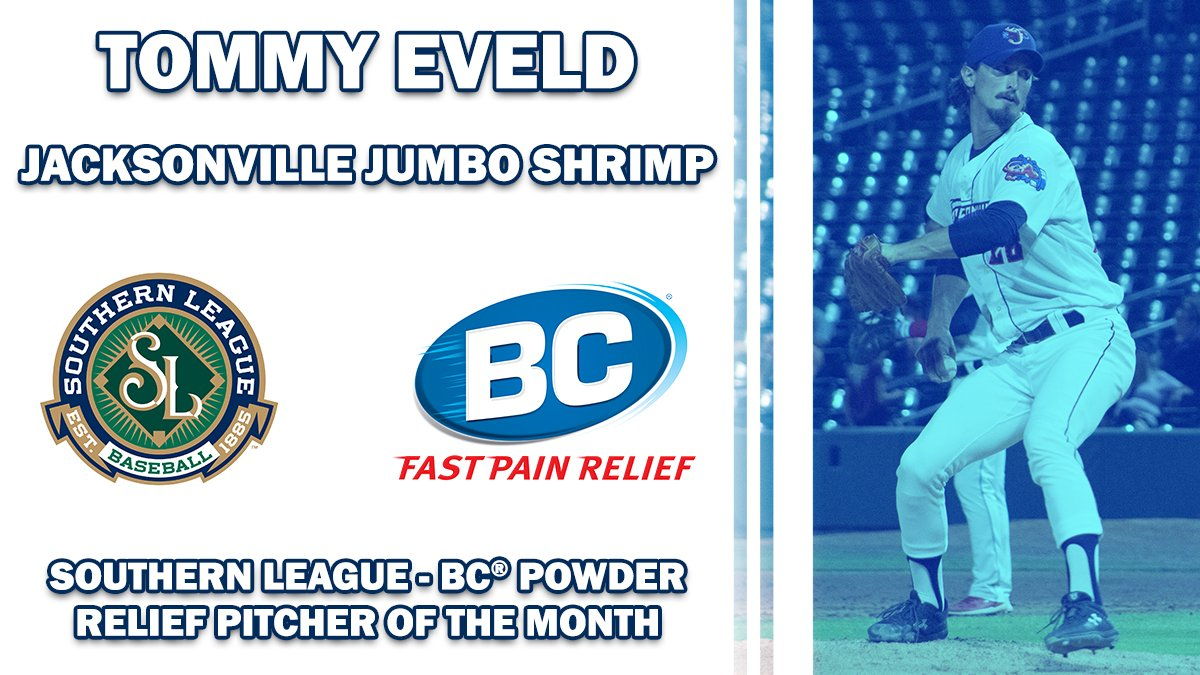 NEWS: We are excited to announce our August @BCPowders Relief Pitcher of the Month, @JaxShrimp closer @teveld! DETAILS: milb.com/southern/news/…