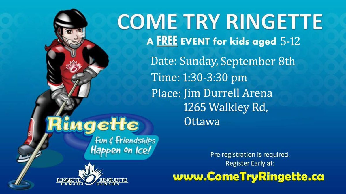 Looking for a great sport for your child? Come try one of the fastest games on ice!! COME TRY RINGETTE!!Please retweet and share! #RingetteRocks #FastestGamesOnIce #CityOfOttawaRingetteAssociation @MAJIC100Ottawa @JimWatsonOttawapic.twitter.com/MbQ6o5f9Bt