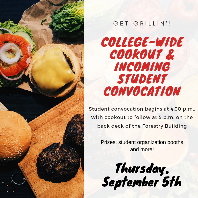 Join us this afternoon for our annual college-wide cookout following new student convocation! https://t.co/T7KIB2UYQE