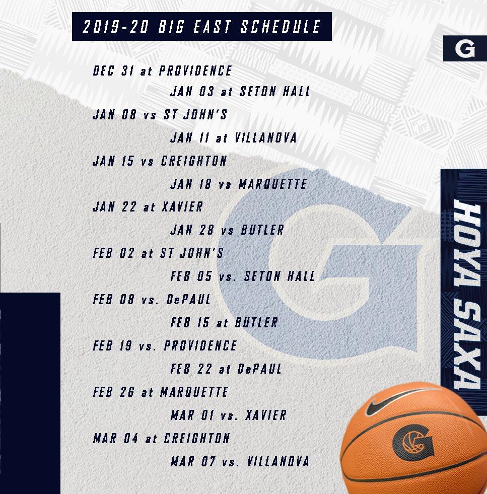 Georgetown Hoyas NCAA Basketball: 🚨 2019-20 BIG EAST SCHEDULE🚨 #HOYASAXA | #WEAREGEOR.  Tweet by @GeorgetownHoops