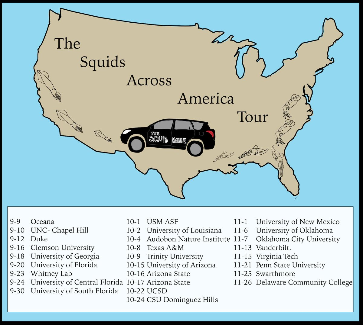 On Saturday I embark on my cross-country #SquidsAcrossAmerica Tour. Here's the lineup!
