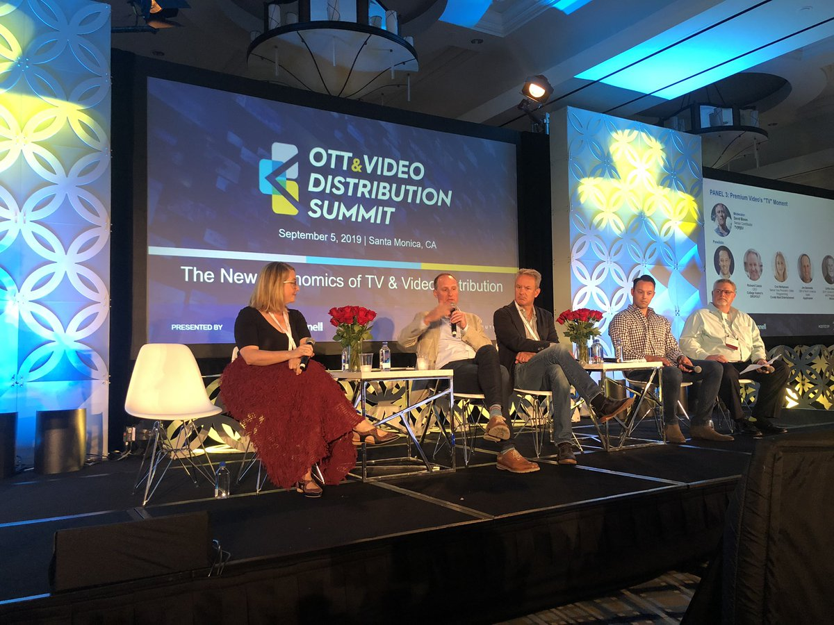 The 3rd panel of the day with a killer lineup including Croi McNamara @CNE | Jim Bennette @Applicaster | Richard Cusick @dropout @CollegeHumor | @Eb33la1 @ellation | Griffin Gmelich @WhistleSports #OTTVideoSummit @bcbeat @MultiNews