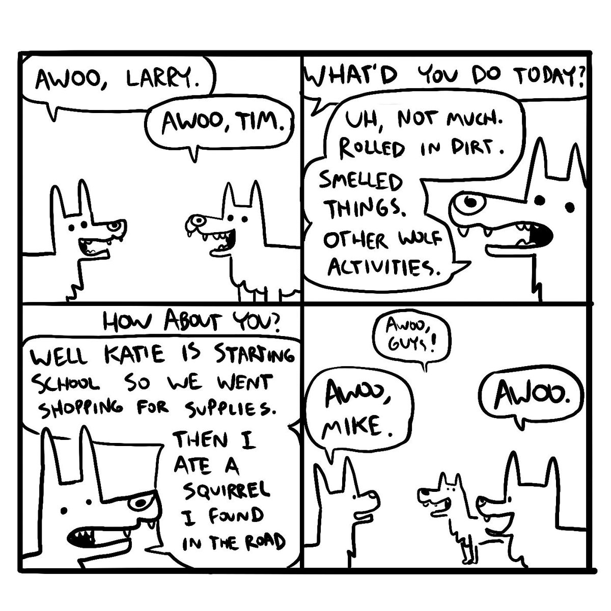 I made a comic about wolf activities.