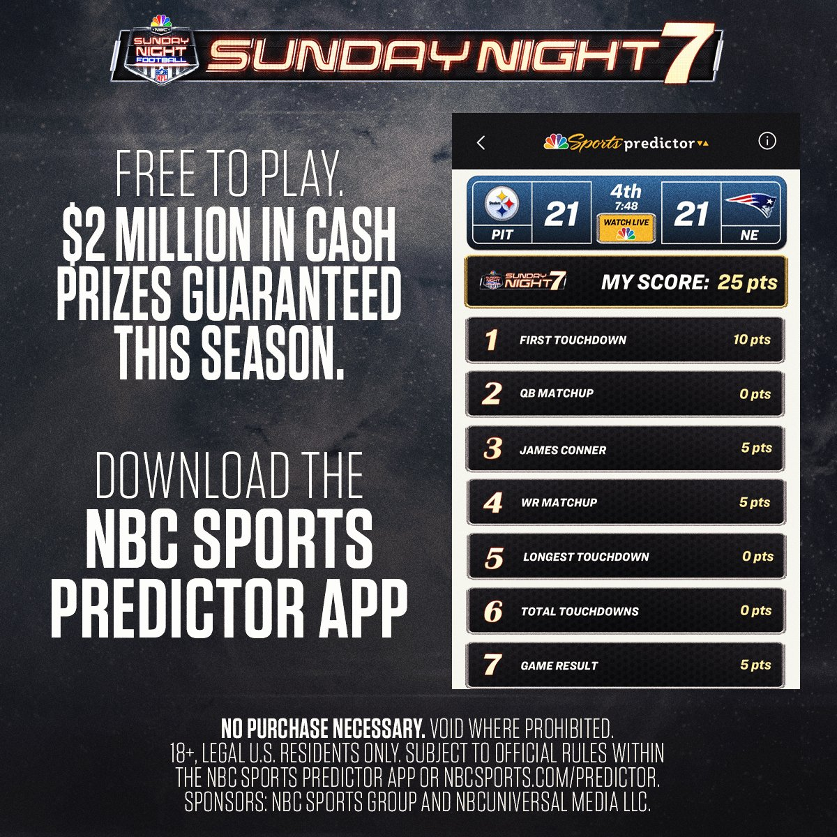 "7 SNF predictions each week. $2 million in guaranteed cash prizes this season. ""Sunday Night 7"" has arrived. Join the excitement now on the NBC Sports Predictor app: bit.ly/2Zx6uhz"