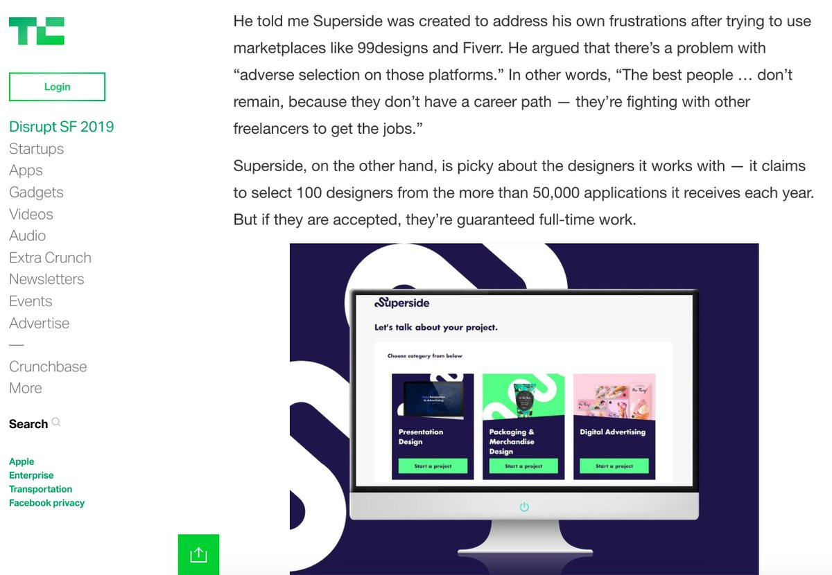 You're legit when you get on @TechCrunch I guess 🥳https://techcrunch.com/2019/09/05/superside-konsus-funding/…As @f_thomassen always says: we're trying to find and grow the best designers in the world, and offer a better design solution than current freelancer marketplaces. (Thanks for covering us @anthonyha!)