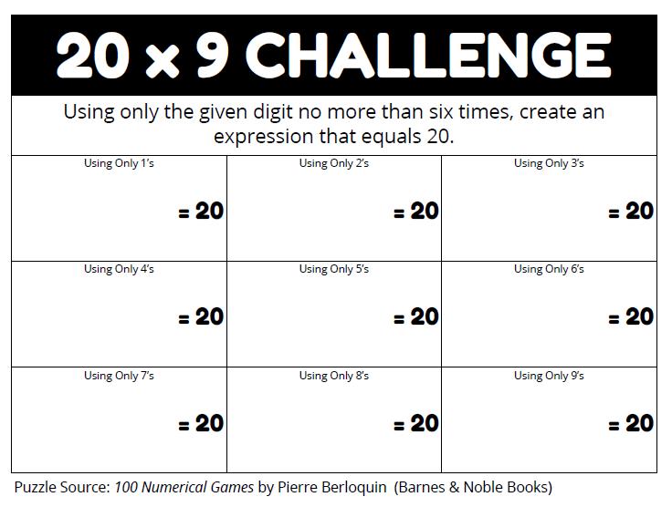 Giocando con i numeri: 20 x 9 challenge