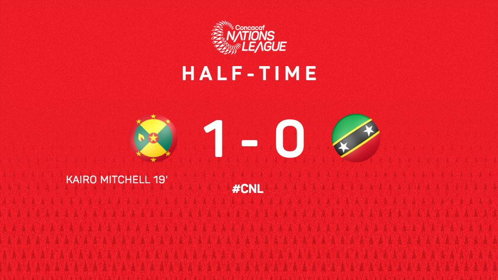 ⏰ HALFTIME   A goal by Kairo Mitchell is giving 🇬🇩 @GrenadaFootball the lead against 🇰🇳@SKNFA_    #FollowTheDream #CNL https://t.co/eBHaxamax6