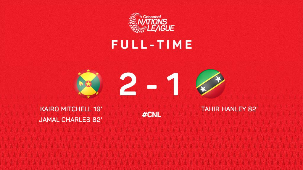 A goal in the last 10 minutes gives 🇬🇩 @GrenadaFootball the 2-1 victory against 🇰🇳 @SKNFA_    #FollowTheDream #CNL https://t.co/HT0B8r0It5