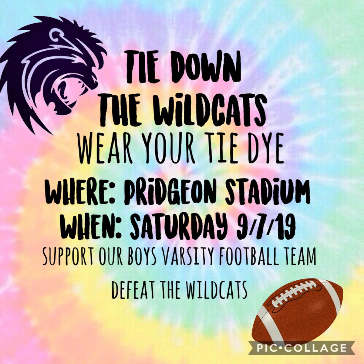 Saturday get ready to tie down the wildcats ! Wear your tie dye to the game and let's cheer on our mighty lions ! 🦁💚 #mbybob #shs #golions https://t.co/JqQRtvgheI